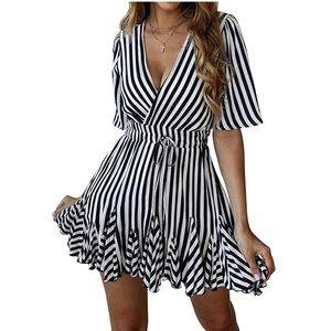 MACY Deep V Neck Short Sleeve Striped Wrap Dress
